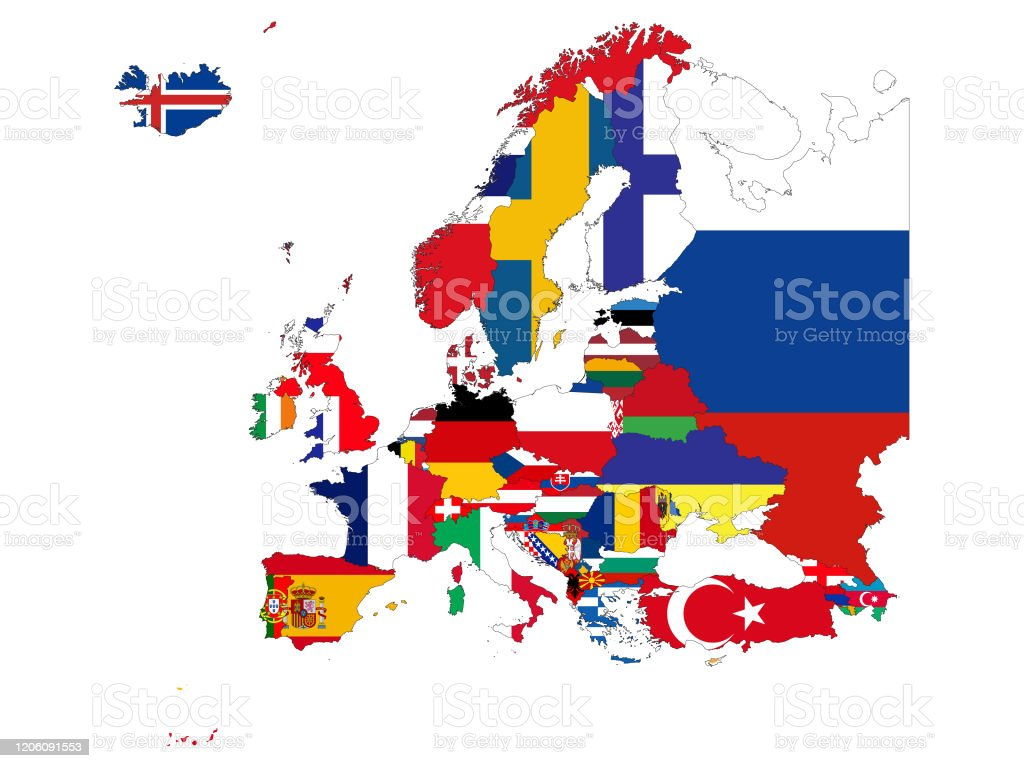 Map Of Europe Countries With National Flag Stock Illustration Download Image Now Istock