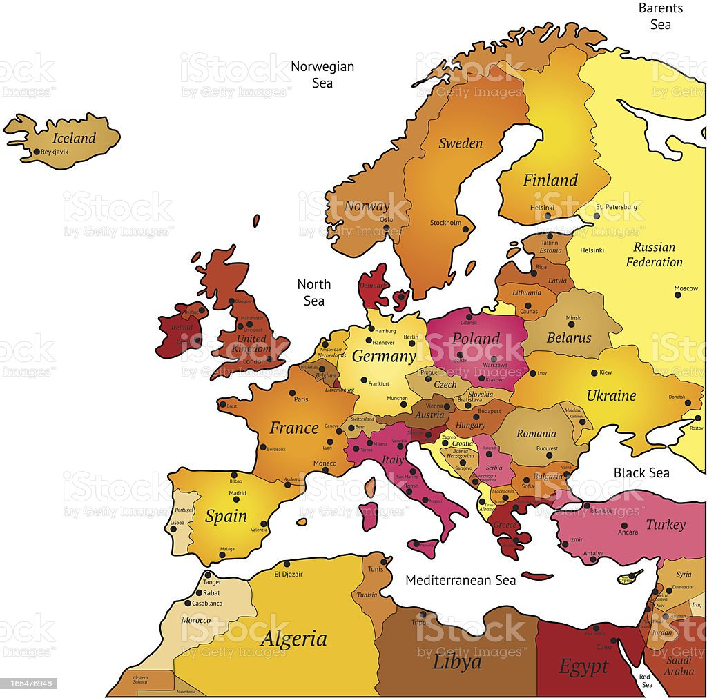 Map of Europe royalty-free stock vector art