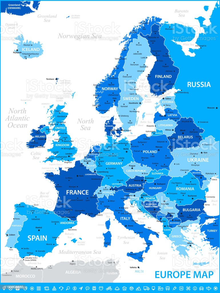 Map Of Europe Vector Illustration With Rivers And France Germany Spain And Poland Stock Illustration Download Image Now Istock