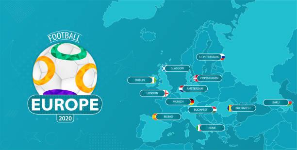 stockillustraties, clipart, cartoons en iconen met kaart van europa met alle 12 gastlanden - sportkampioenschap