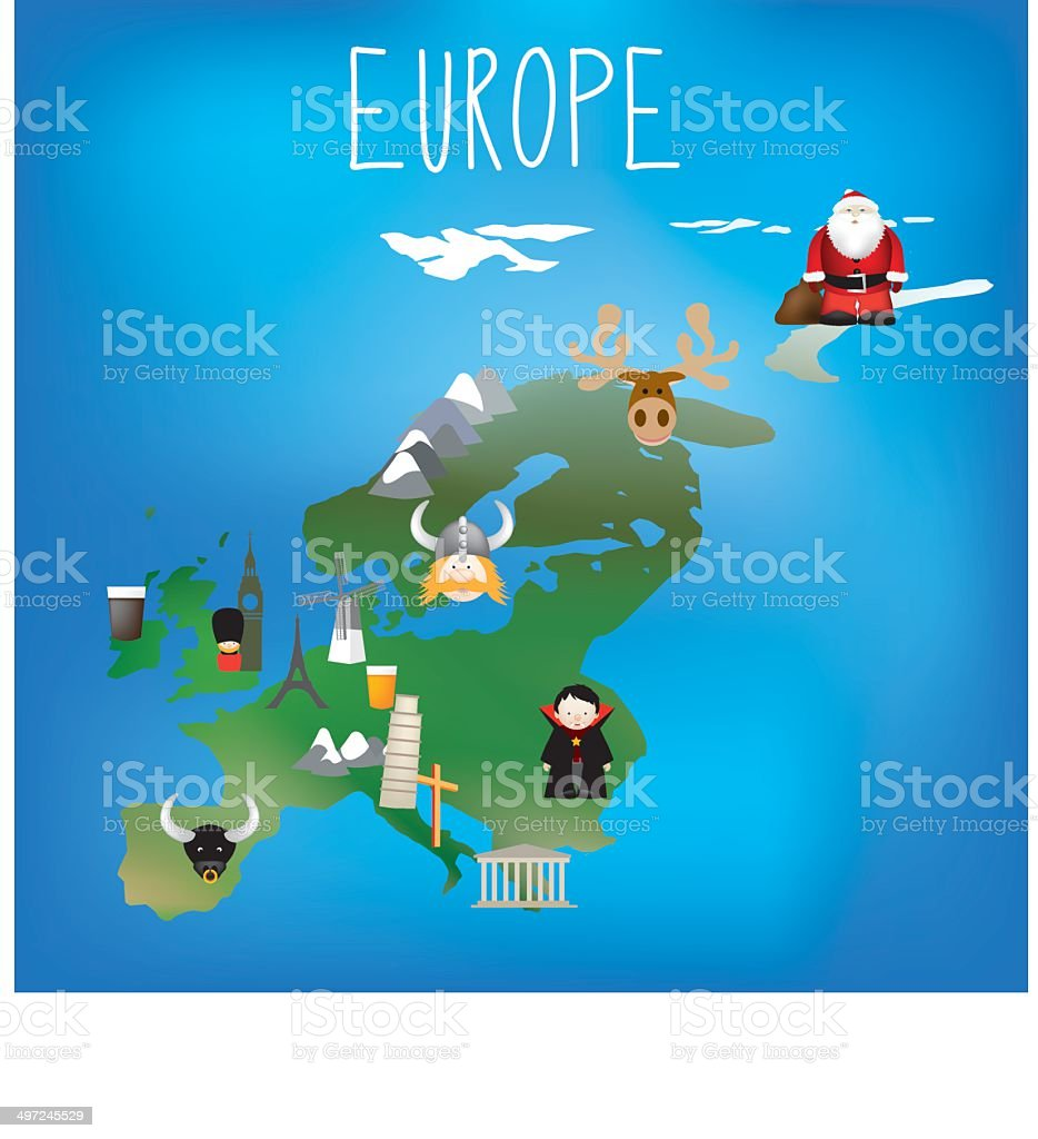 Map of Europe with cute child friendly icons vector art illustration