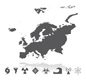 Vector of highly detailed Europe map with natural disaster icons set