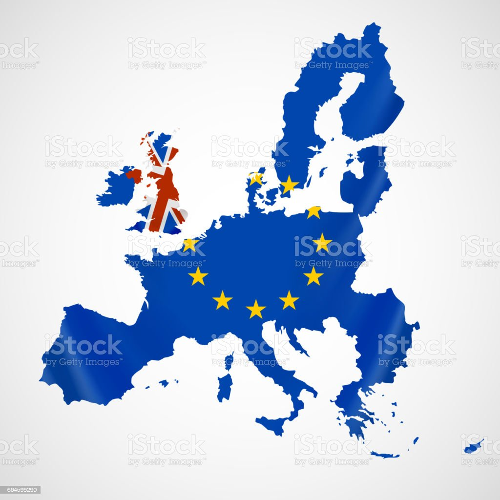 Map of Europe with European Union members and Great Britain or United Kingdom in brexit. vector art illustration