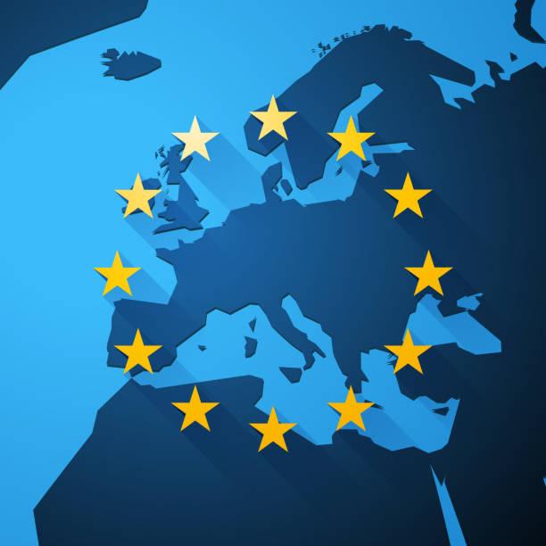 Map of Europe with European Union stars vector art illustration