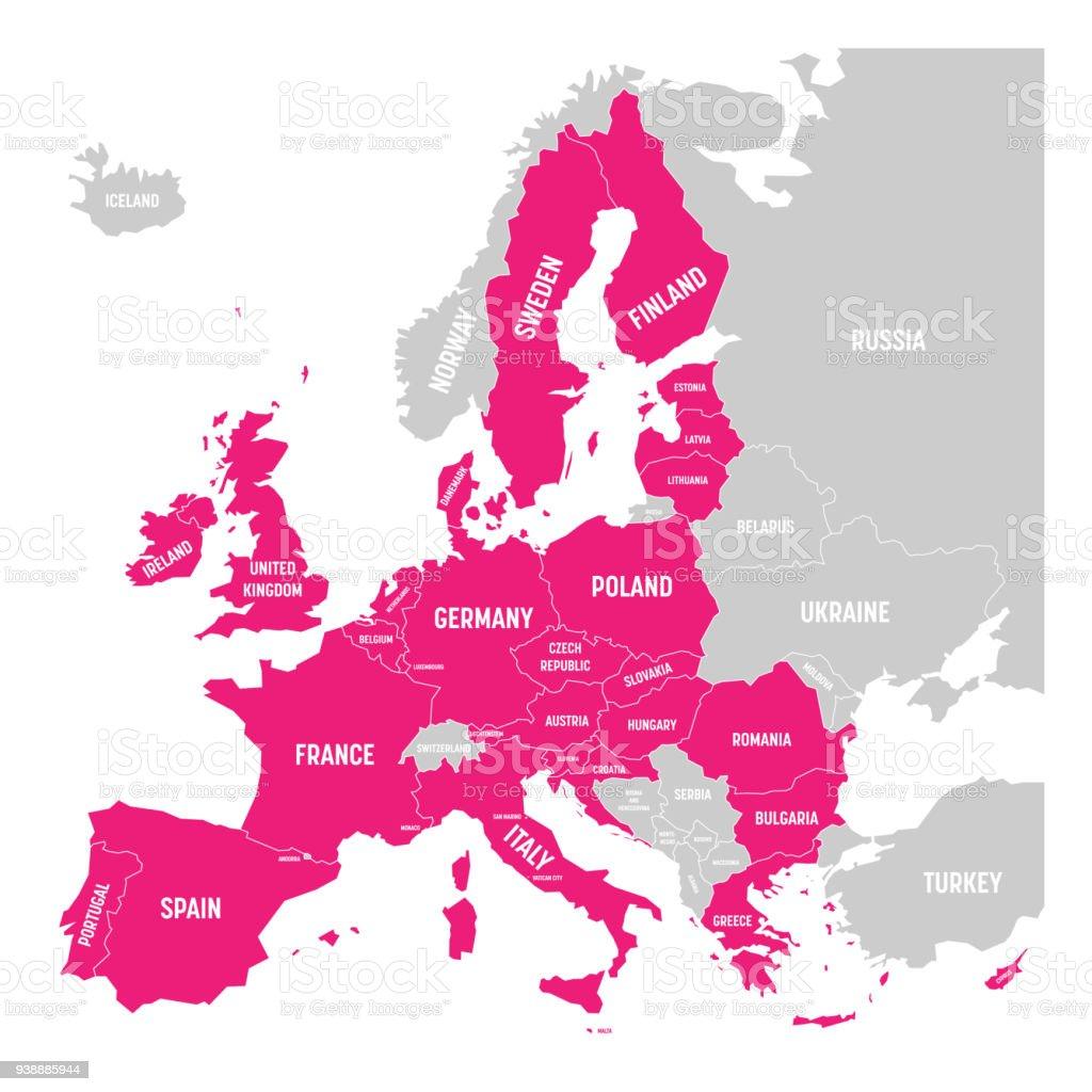 歐洲地圖以粉紅色突出顯示歐盟成員國。向量插圖。歐洲聯盟的簡化地圖 - 免版稅信息圖形圖庫向量圖形