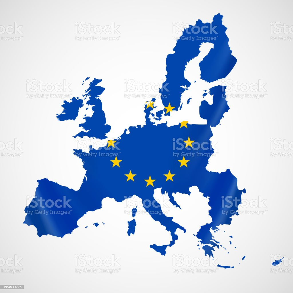 Map of European union and EU flag illustration.