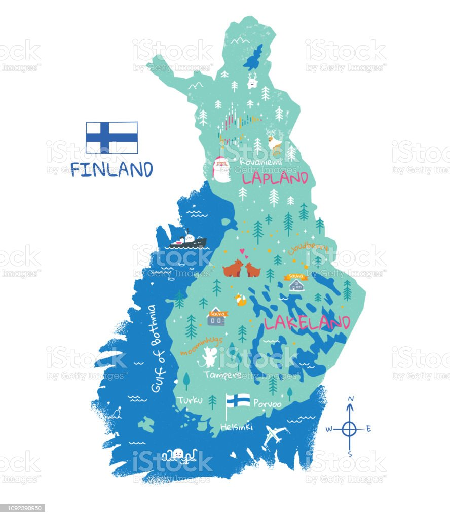 Map Of Finland National Flag And Symbols Stock Illustration ...