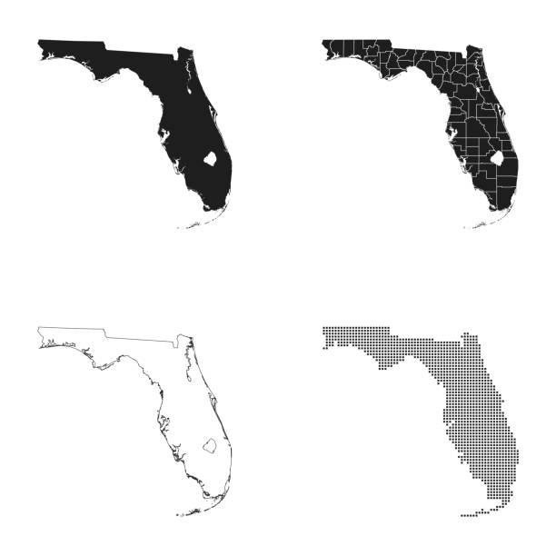 map of Florida – artystyczna grafika wektorowa