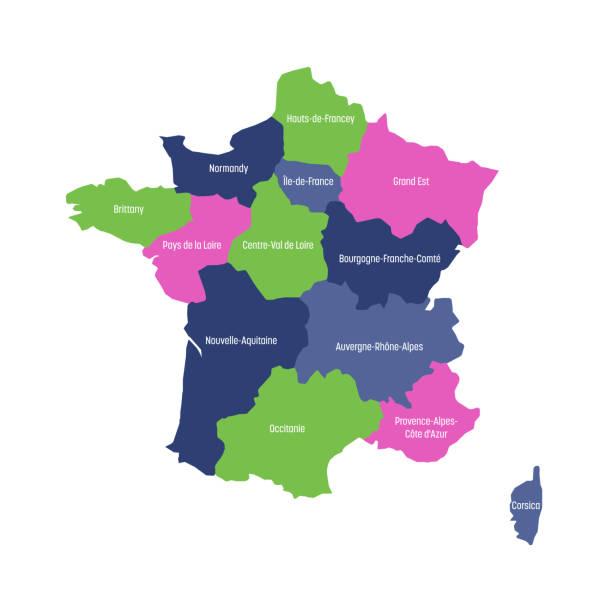 mapa francji podzielona na 13 administracyjnych regionów metropolitalnych, od 2016 roku. cztery kolory. ilustracja wektorowa - francja stock illustrations