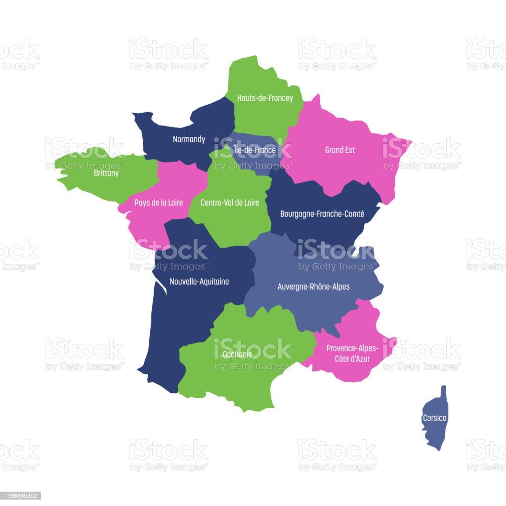 Carte de France divisée en 13 régions administratives métropolitaines, depuis 2016. Quatre couleurs. Illustration vectorielle - Illustration vectorielle