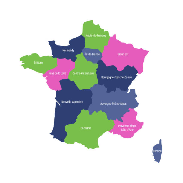 ilustrações de stock, clip art, desenhos animados e ícones de map of france divided into 13 administrative metropolitan regions, since 2016. four colors. vector illustration - cenário