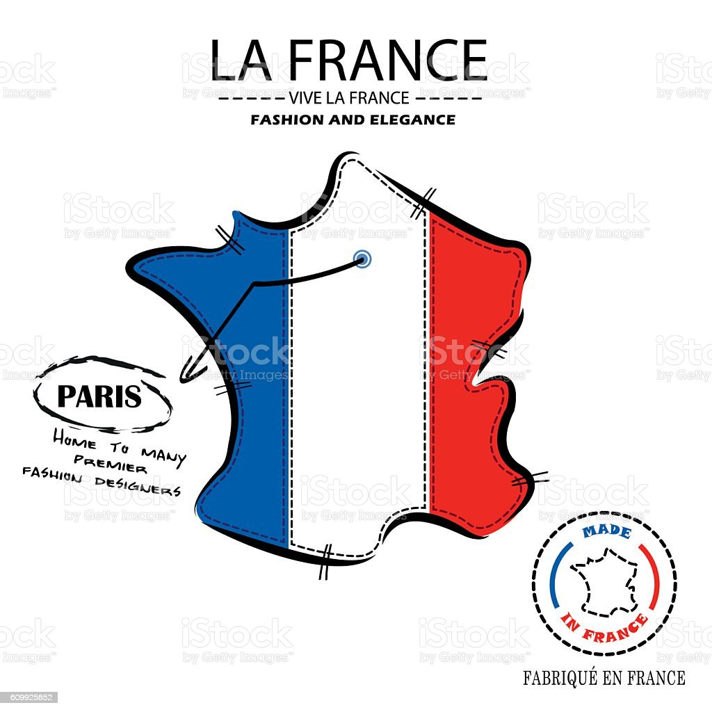 Map Of France With Paris.Map Of France French Fashion Houses In Paris Stock Illustration