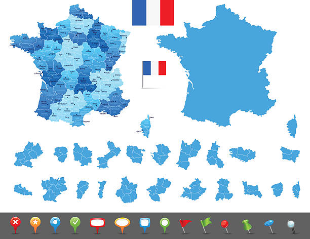 stockillustraties, clipart, cartoons en iconen met map of france - states, cities and navigation icons - bretagne frankrijk