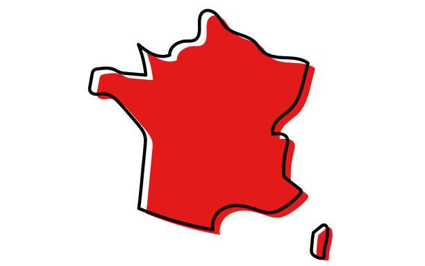 mapa francji - francja stock illustrations