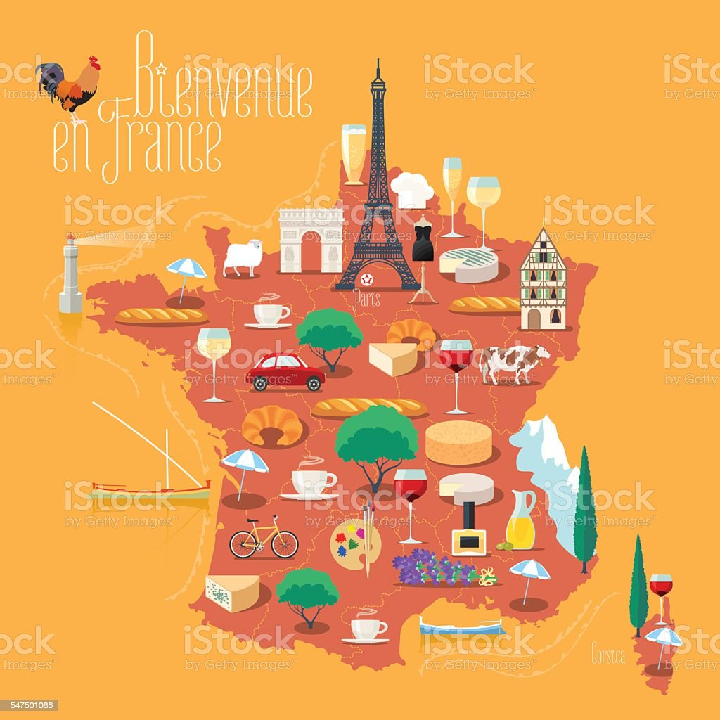 Map of France vector isolated illustration. Set of icons vector art illustration