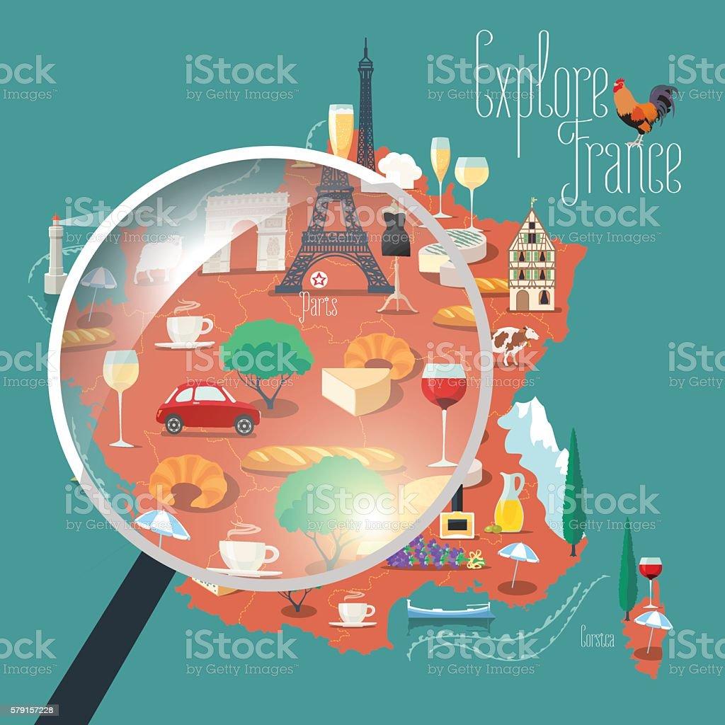 Map of France vector isolated illustration vector art illustration
