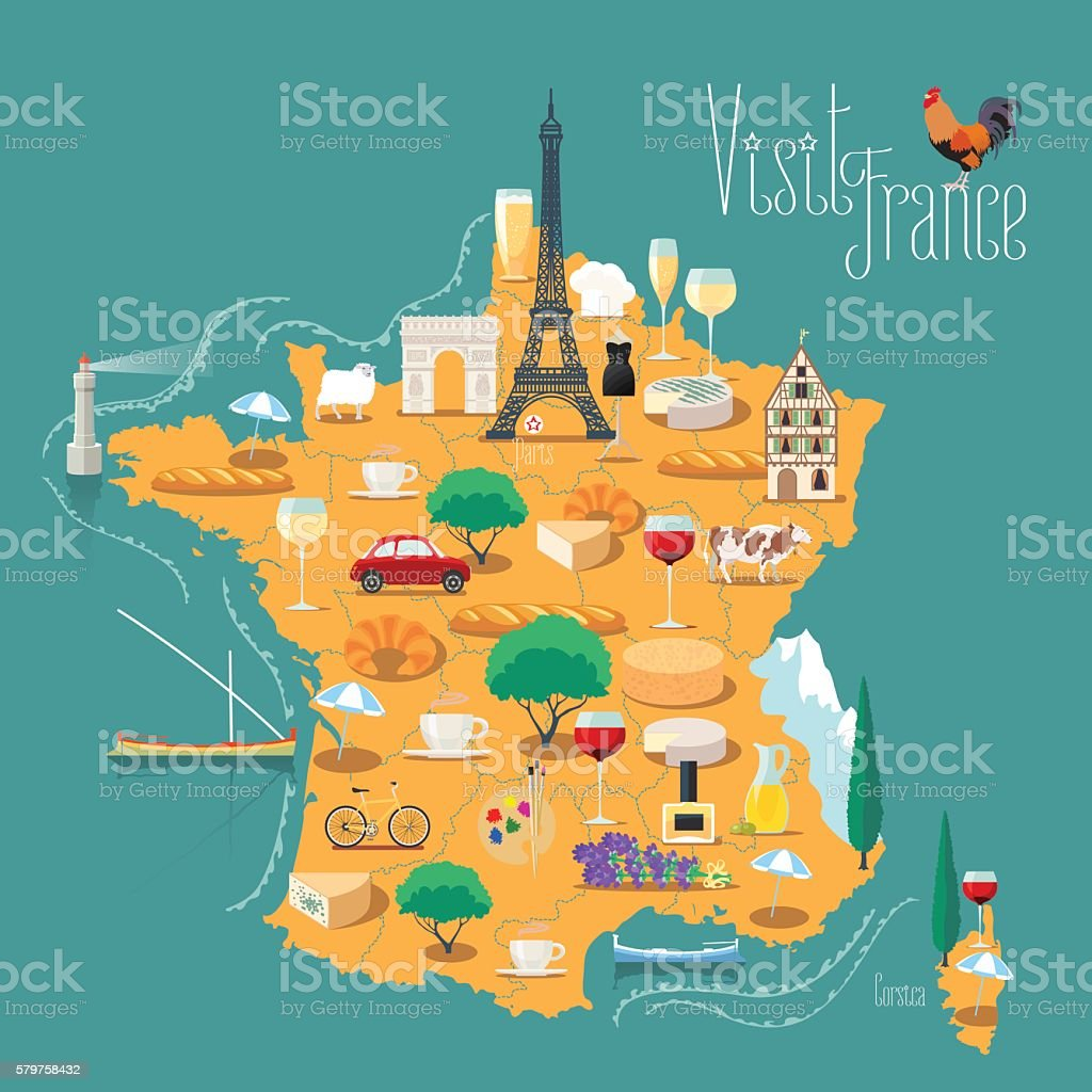 Map of France vector isolated illustration - ilustración de arte vectorial