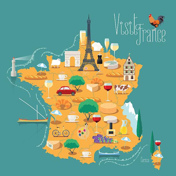 ilustraciones, imágenes clip art, dibujos animados e iconos de stock de map of france vector isolated illustration - comida francesa