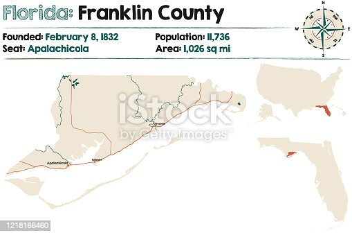 Large and detailed map of Franklin county in Florida, USA.
