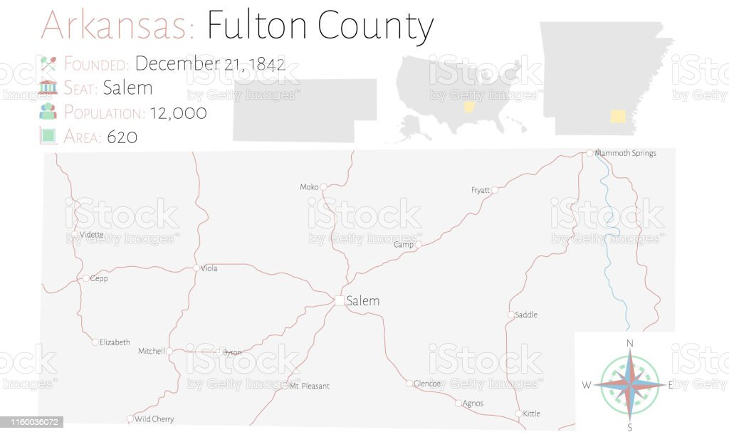 Map Of Fulton County In Arkansas Stock Illustration ...