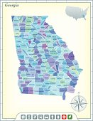 Map of Georgia counties with community assistance icons