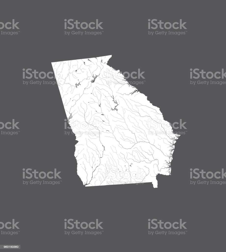 Map Of Georgia Lakes And Rivers.Map Of Georgia State With Lakes And Rivers Stock Illustration