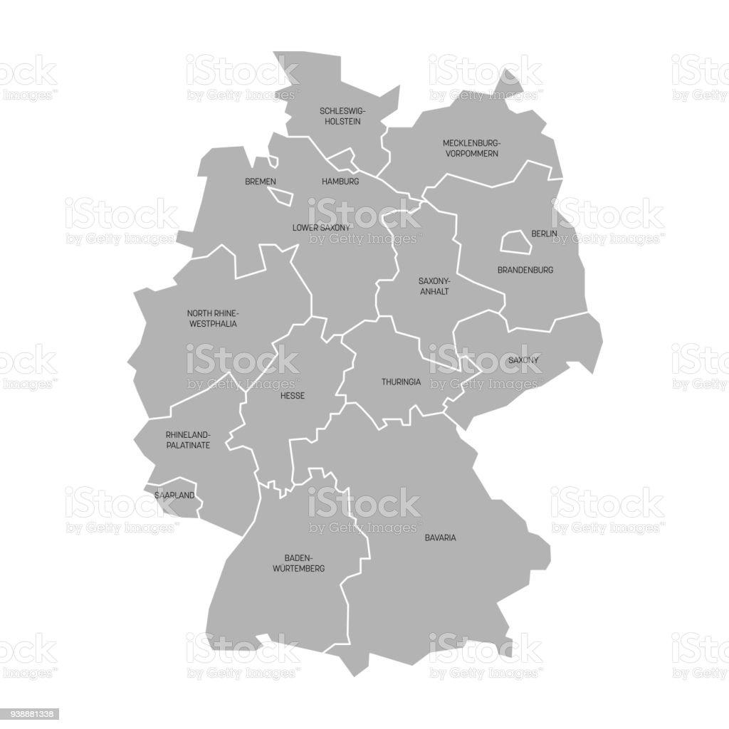 Map Of Germany Devided To 13 Federal States And 3 Citystates Berlin ...