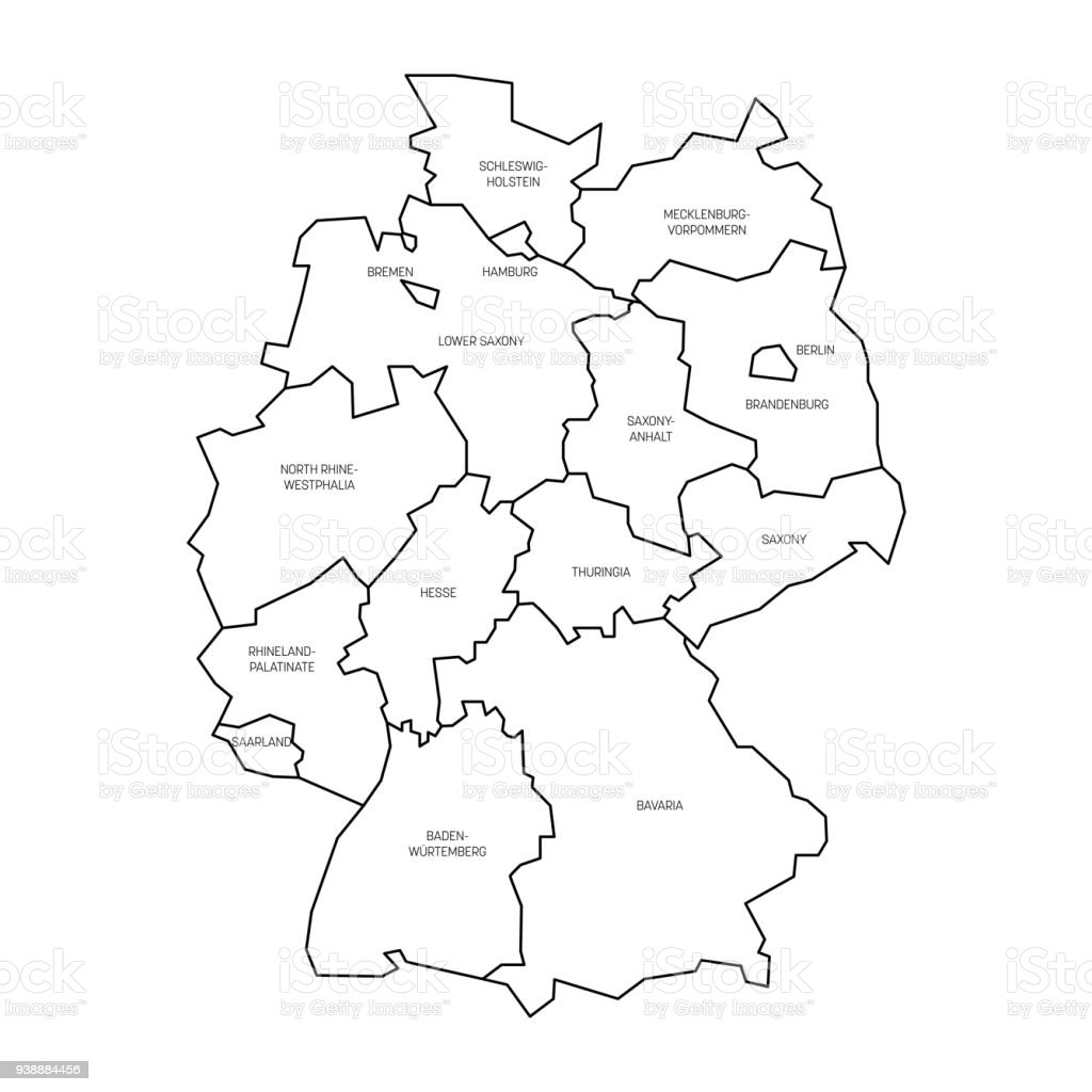 Simple Map Of Germany.Map Of Germany Devided To 13 Federal States And 3 Citystates Berlin