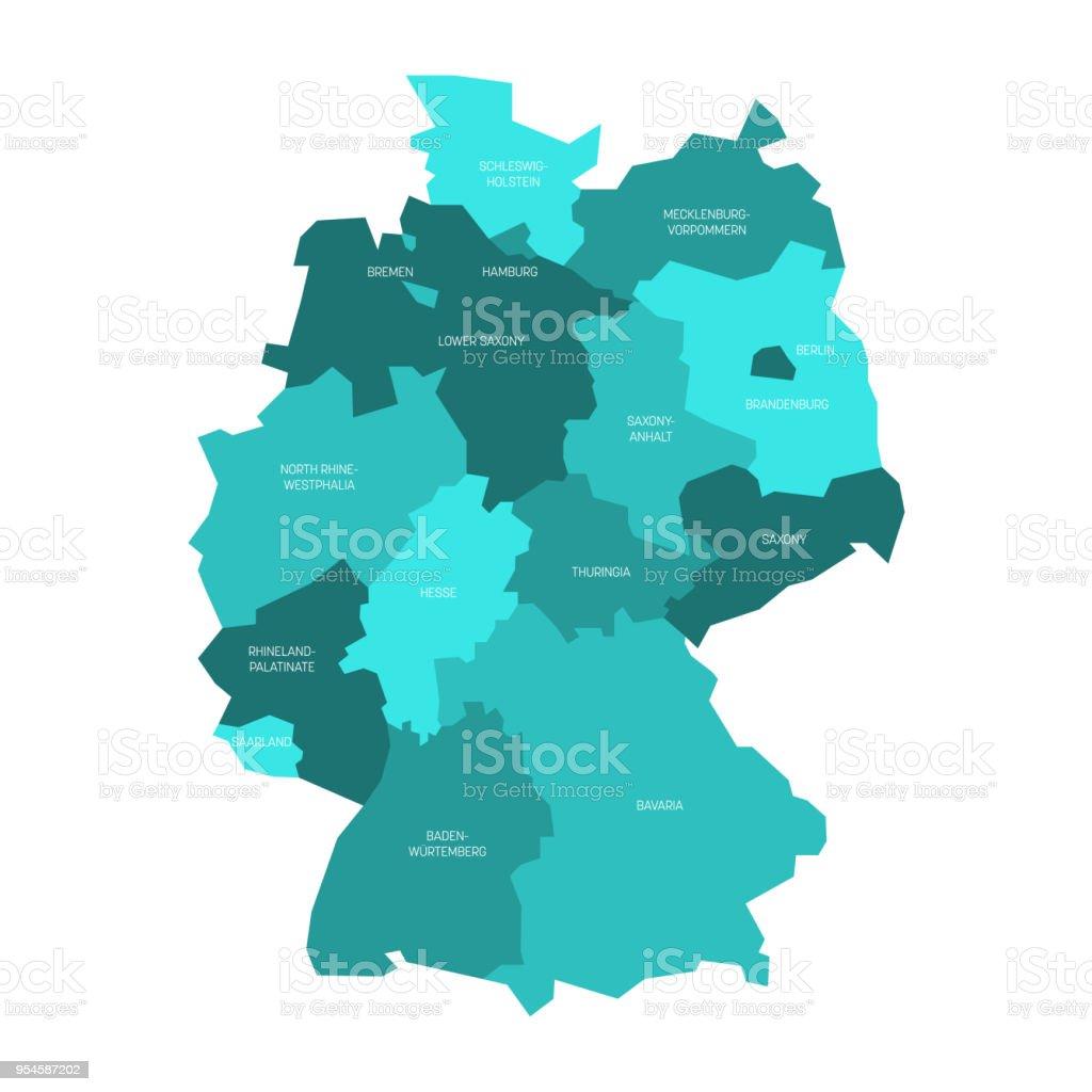 Mapa da Alemanha dividida para 13 Estados federais e 3 cidades-estado-Berlim, Bremen e Hamburgo, Europa. Mapa do vetor plana simples em tons de azul turquesa - ilustração de arte em vetor