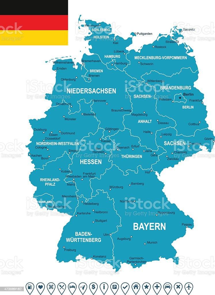Carte et Drapeau de l'Allemagne et navigation étiquettes-illustration - Illustration vectorielle