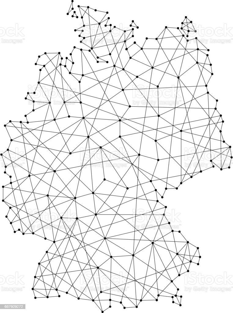 Mapa da Alemanha de linhas pretas poligonais e pontos de ilustração vetorial - ilustração de arte em vetor