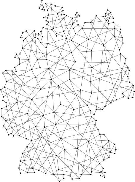 Mapa de Alemania de poligonales líneas negras y puntos de ilustración vectorial - ilustración de arte vectorial