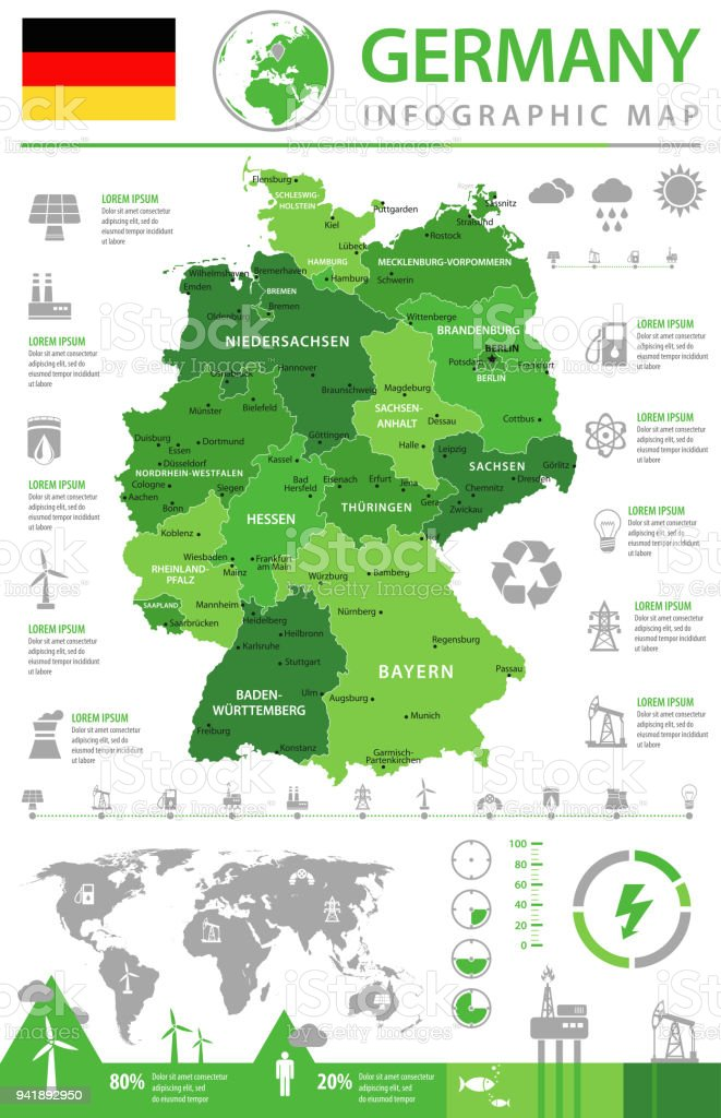 Map of Germany - Infographic Vector vector art illustration