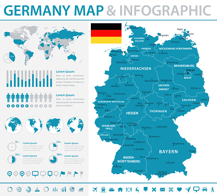 Map of Germany - Infographic Vector