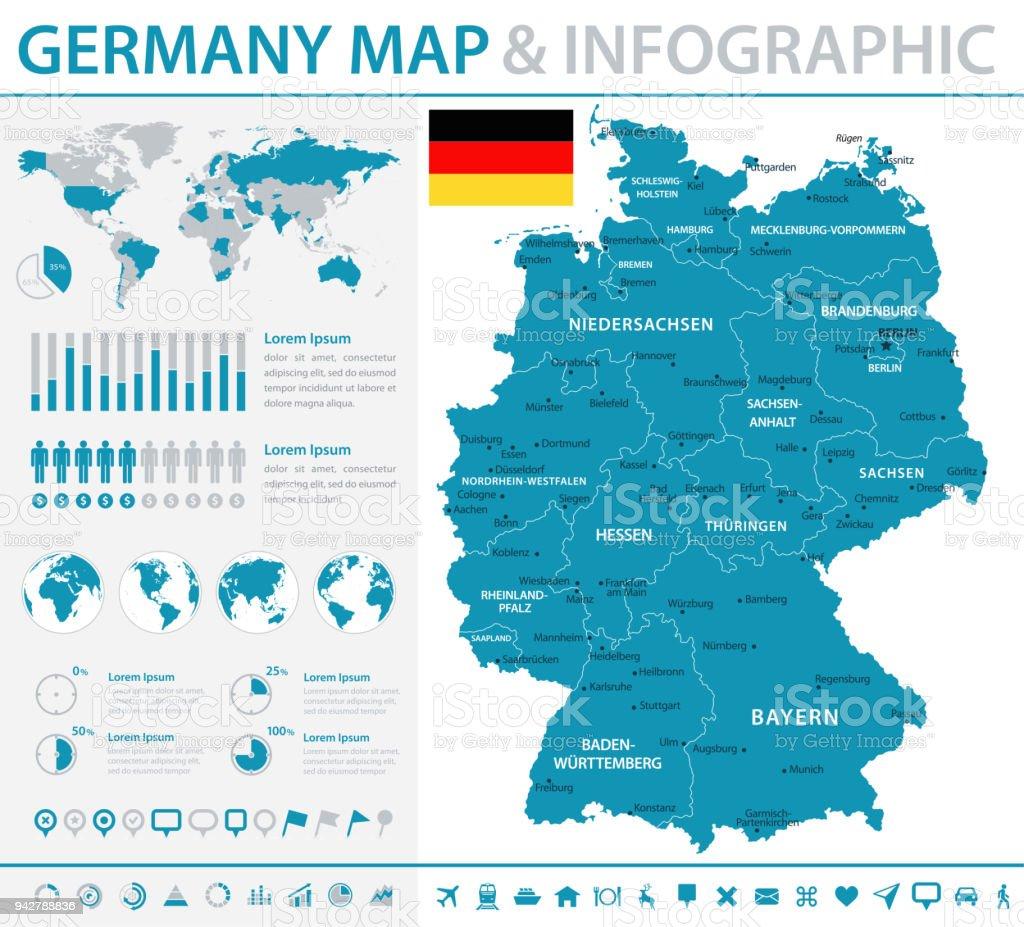 Mapa da Alemanha - infográfico Vector - ilustração de arte em vetor
