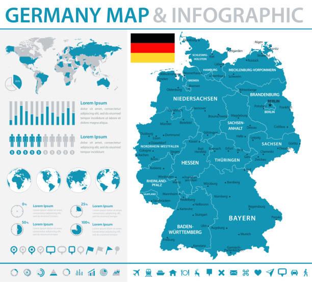 karte von deutschland - infografik vektor - hannover stock-grafiken, -clipart, -cartoons und -symbole