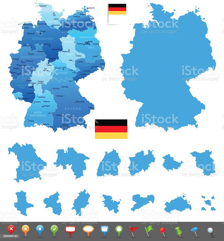 Map Of Germany With States And Cities.Map Of Germany States Cities And Navigation Icons Stock Illustration