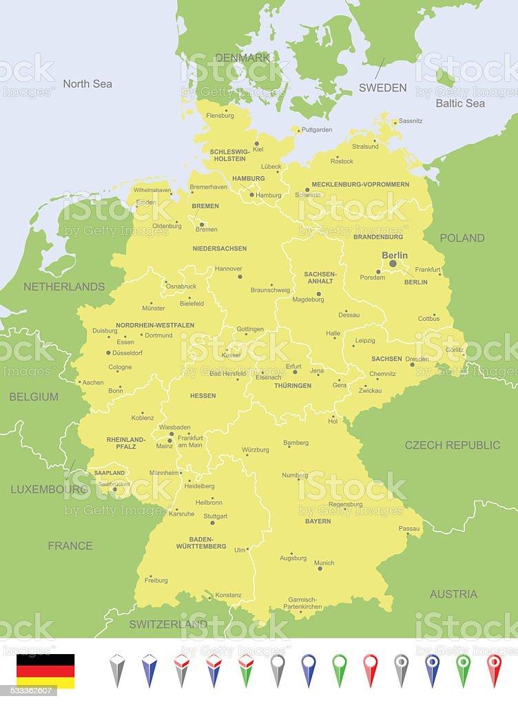 Map of Germany vector art illustration