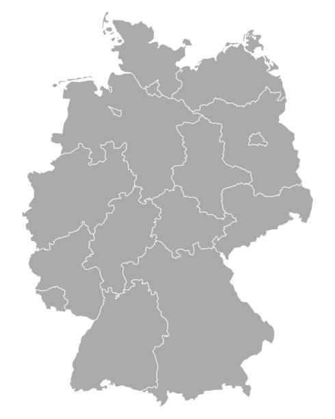 ilustraciones, imágenes clip art, dibujos animados e iconos de stock de mapa de alemania - siluetas de mapas