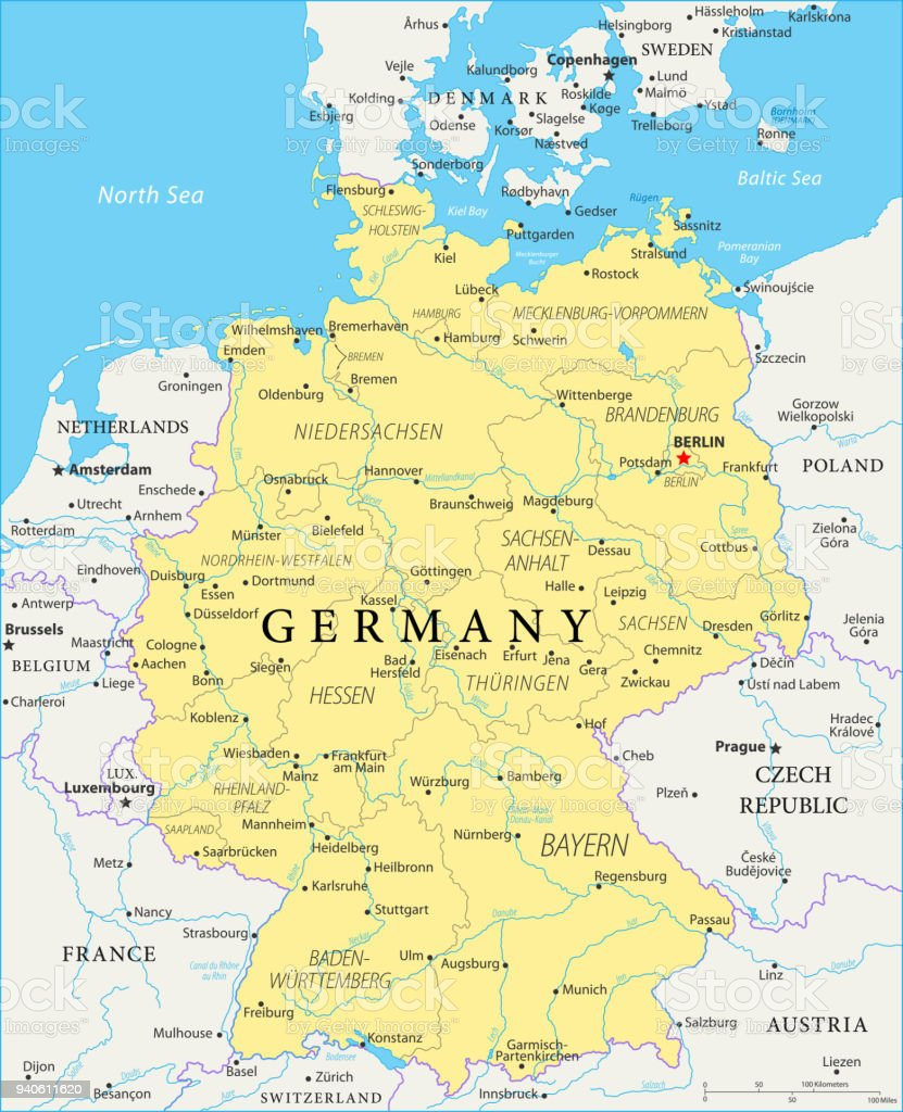Map Of Germany Vector Stock Vector Art & More Images of Austria | iStock