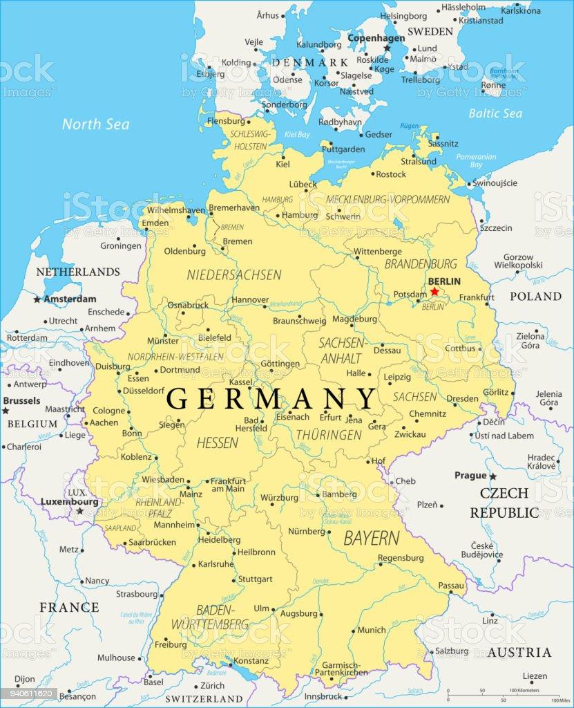 Mapa da Alemanha - vetor - ilustração de arte em vetor
