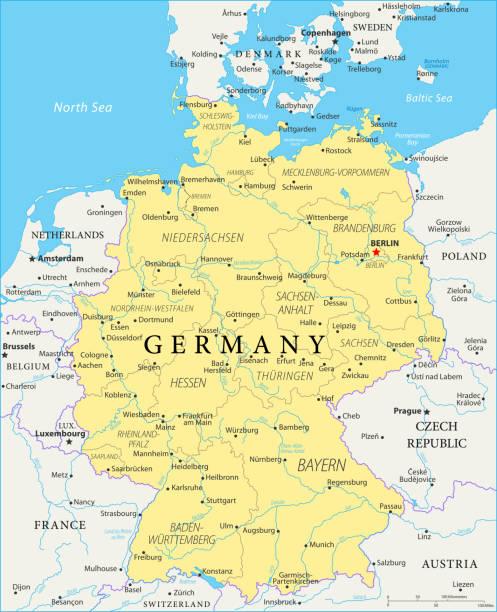 karte von deutschland - vektor - hannover stock-grafiken, -clipart, -cartoons und -symbole