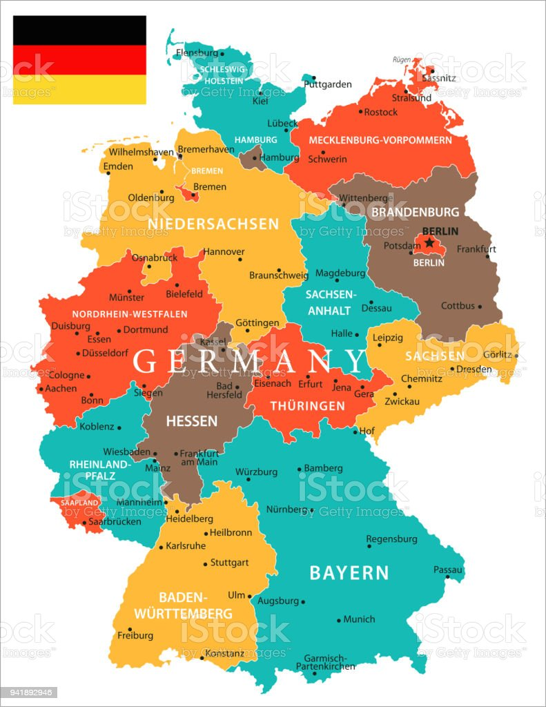 Map Of Germany Ulm.Map Of Germany Vector Stock Illustration Download Image Now Istock