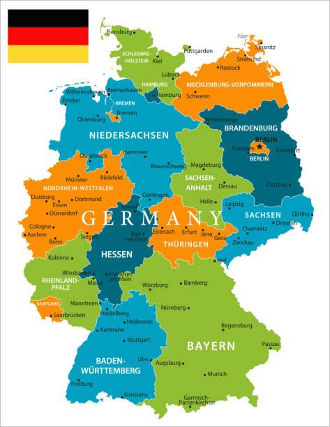 map of germany vector vector art illustration