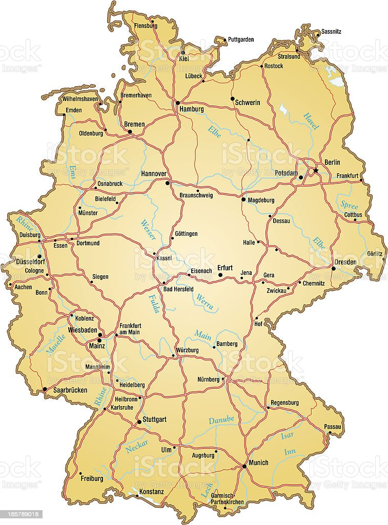 map of germany with all names of the main cities royalty free map of germany