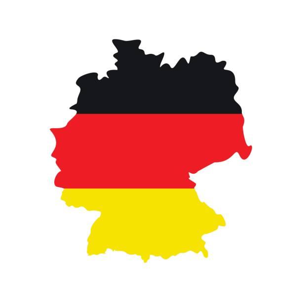 ilustraciones, imágenes clip art, dibujos animados e iconos de stock de mapa de alemania con la bandera del icono de alemania - bandera alemana