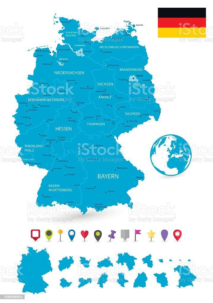 Carte de l'Allemagne et les États membres et à la carte pointeurs - Illustration vectorielle