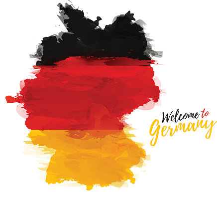 Map of Germany with the decoration of the national flag.