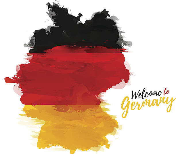 map of germany with the decoration of the national flag. - 德國 幅插畫檔、美工圖案、卡通及圖標
