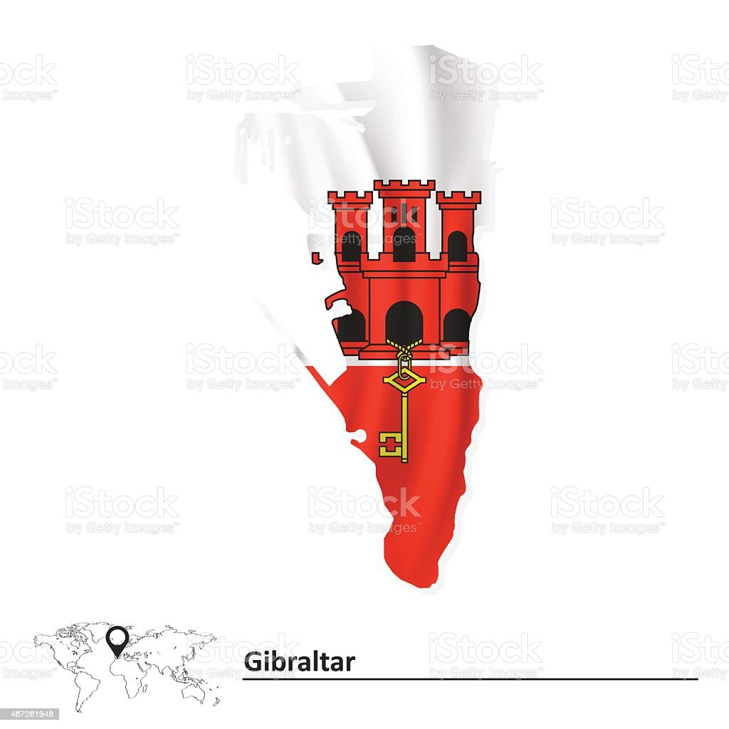 Mappa Di Gibilterra Con Bandiera Immagini Vettoriali Stock E Altre